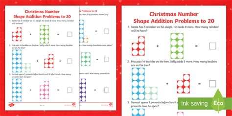 * New * Christmas Number Shape Addition Problems To 20 Activity