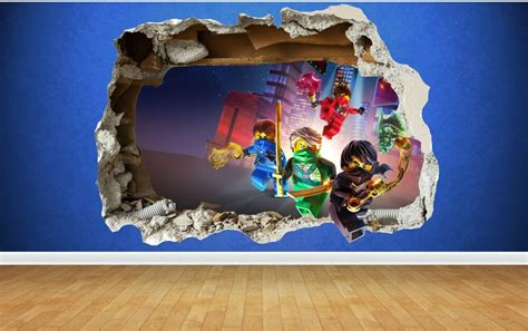 Lego Bedroom Wall Decals by Lego Ninjago 3d Style Smashed Wall Sticker Childrens