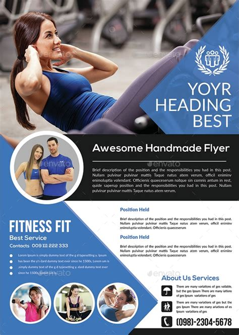 fitness flyer templates  ms word psd ai