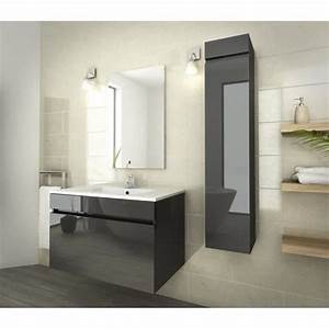 Luna ensemble salle de bain simple vasque l 80 cm gris for Ensemble salle de bain simple vasque l 80 cm