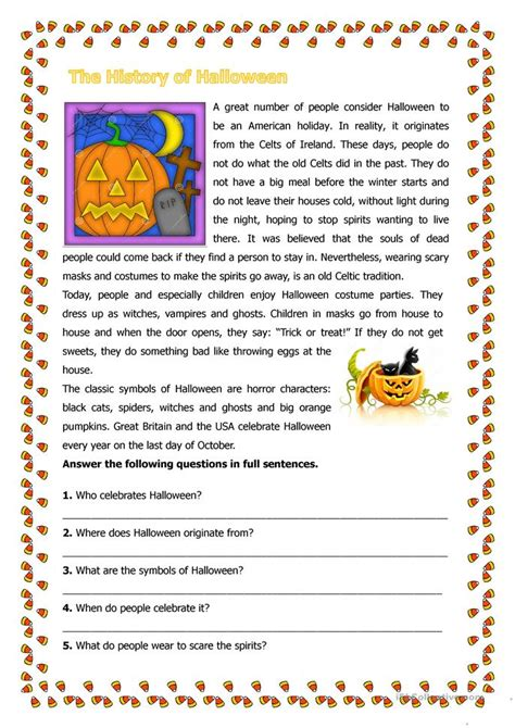 The History Of Halloween Worksheet  Free Esl Printable Worksheets Made By Teachers