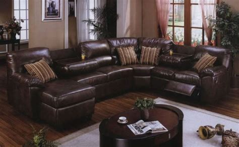 Brown Leather Sectional Living Room Ideas by Unique Oval Coffee Table And White Carpet For Traditional