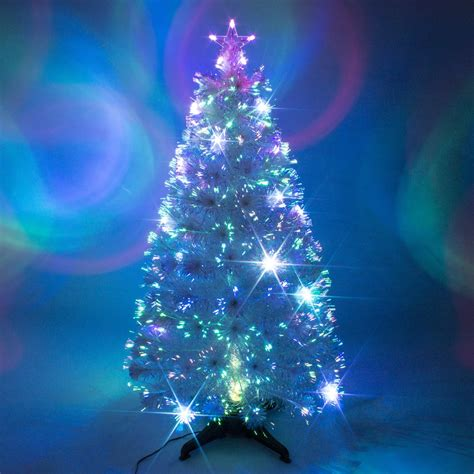 White Fibre Optic Christmas Tree w. Multicoloured LEDs