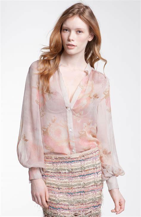 haute hippie blouse haute hippie sheer silk blouse in pink suntan lyst