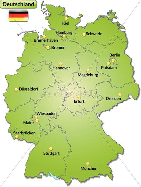 karte von deutschland mit hauptstaedten  gruen