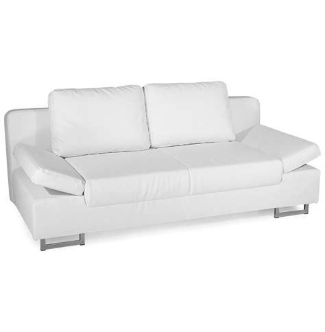 canapé faux cuir canapé lit convertible bed similicuir blanc 2 places