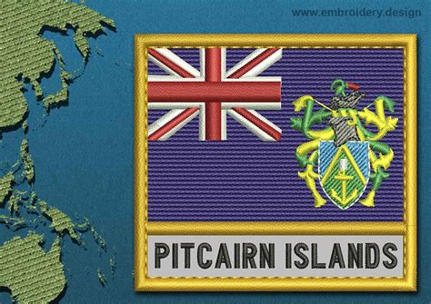Pitcairn Islands Text Flag Embroidery Design With A Gold