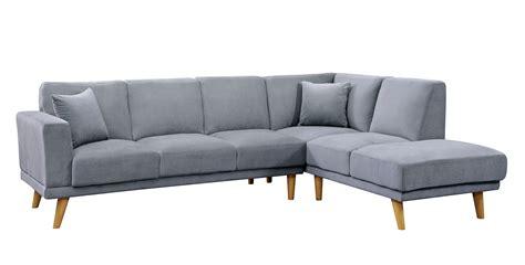 Gray Modern Sofa by Hagen Gray Flannelette Mid Century Modern Sectional Sofa