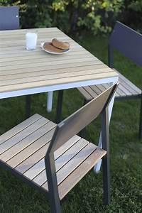 Table De Jardin Bois Et Metal : ensemble repas cora table carr e et 4 chaises m tal aluminium de couleur et bois massif ~ Teatrodelosmanantiales.com Idées de Décoration