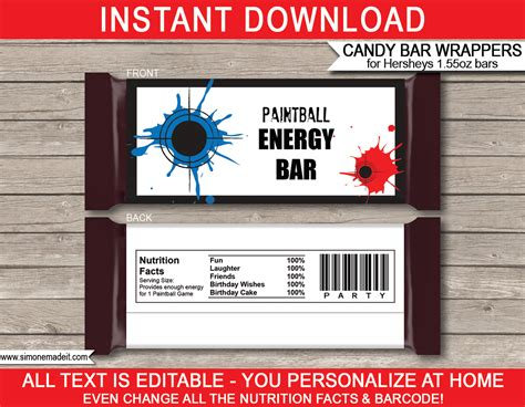paintball hershey candy bar wrappers personalized candy bars