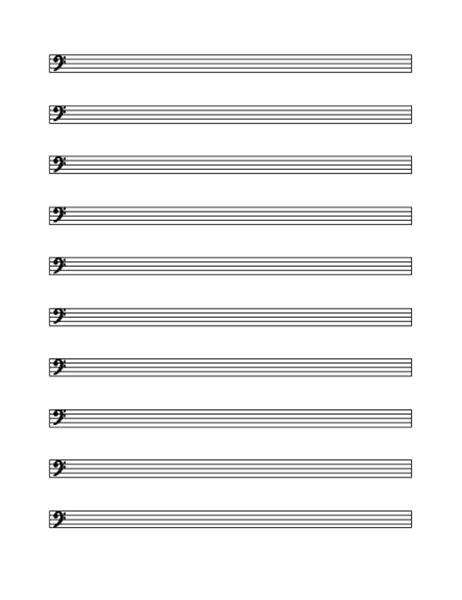 Word includes several music sheet styles in its templates. Bass clef staff (10 per page)