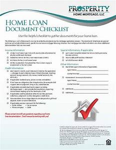 Home loan document checklist prosperity home mortgage llc for Documents checklist for home loan