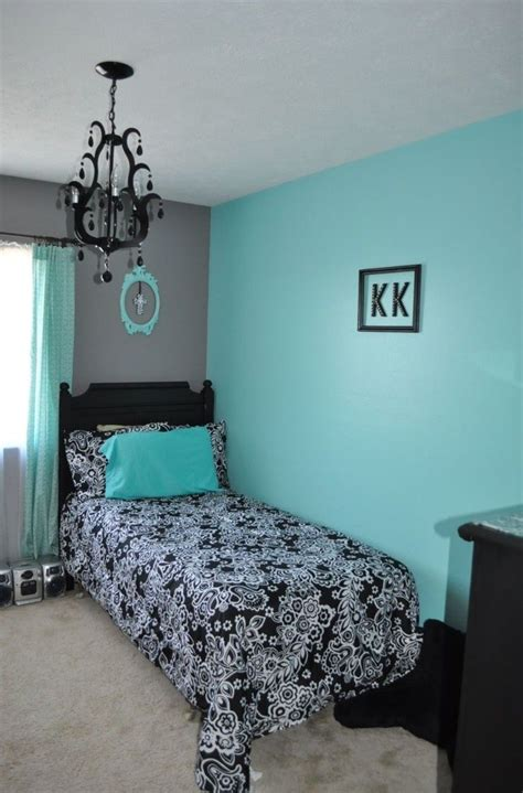 Multiple light sources allow you to control the ambiance and light direction. Anna's room. Aqua walls with light grey wall and white ...