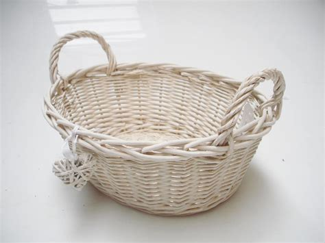 shabby chic storage baskets oval white french shabby chic wicker kitchen crafts bathroom storage basket ebay