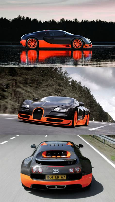 Bugatti veyron 16.4 super sport is the world's fastest production car with a top speed of 431 km/h. Bugatti Veyron with a top speed of 268 MPH.   Super sport cars, Top sports cars, Super fast cars