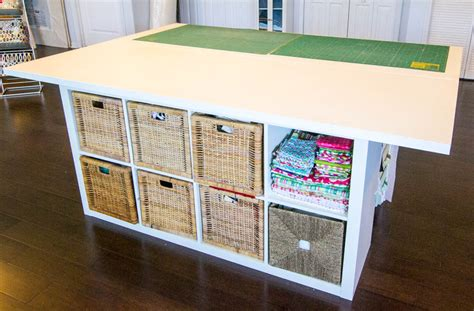 white dresser with shelves diy sewing and cutting table with storage cubbies