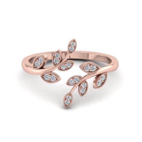 open leaf engagement ring in 14k gold