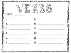 vivid verbs images handwriting ideas teaching