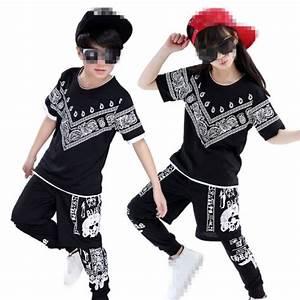 Black printed 3in1 boys kids children girls baby school competition hip hop dance costumes ...