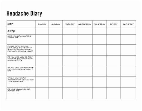 printable migraine diary template xpuoe templatesz