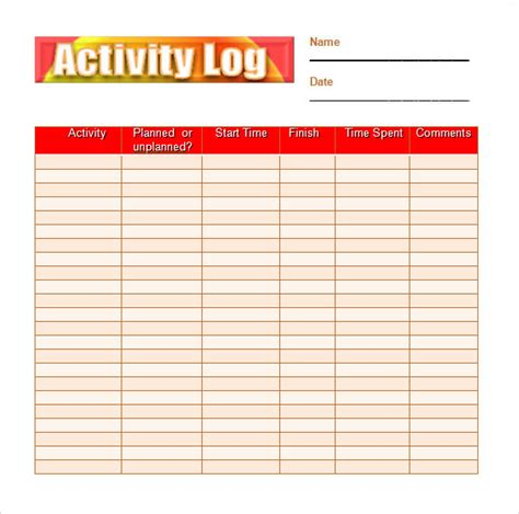 sample activity log template   documents