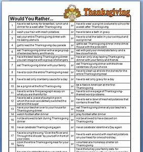Classroom Freebies: Thanksgiving Would You Rather Questions