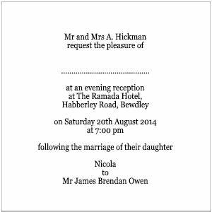 Wedding invitation wording wedding invitation wording for Wedding invitations wording evening only