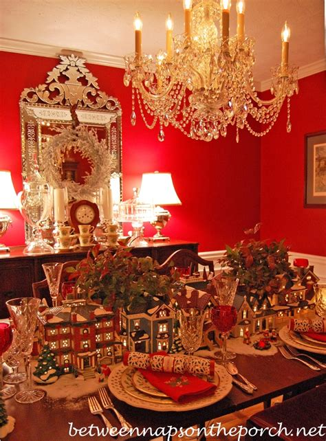 Dillards Christmas Decorations 2013 by Christmas Table Setting Tablescape With Dept 56 Lit