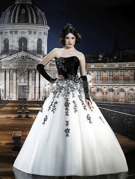 robe de mariage noir et blanche robe de marier noir