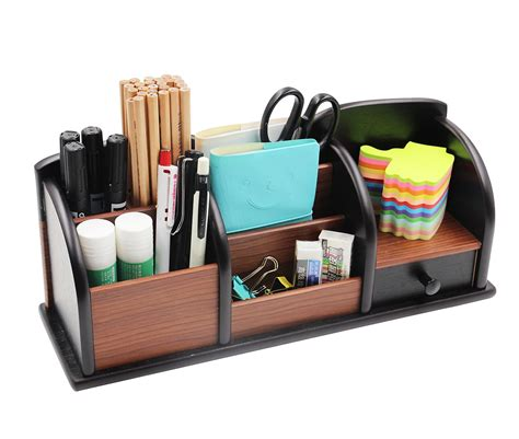 Pag Office Supplies Wood Desk Organizer Pen Holder