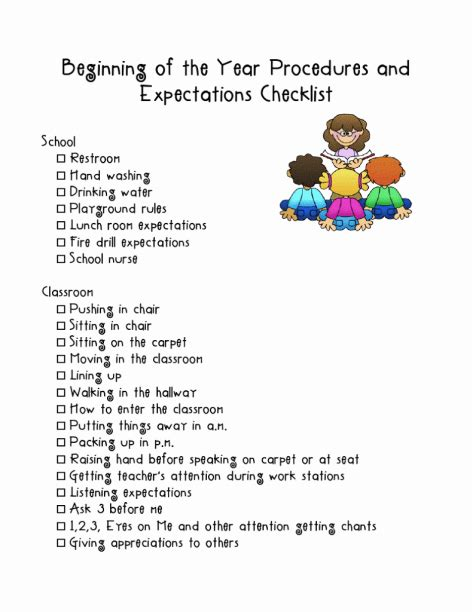 Beginning of the Year Procedures and Expectations ...