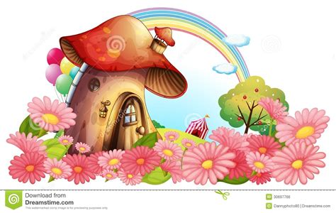 A Mushroom House With A Garden Of Flowers Stock Vector