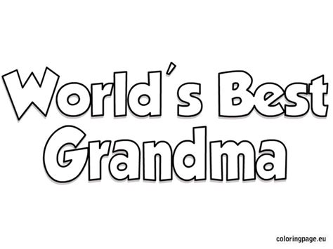 Best Coloring Pages Worlds Grandma Page Grig3org