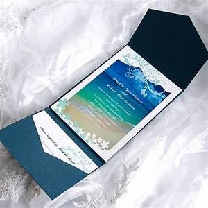 pocketfold wedding invitations beach wedding invitation With tri fold beach wedding invitations