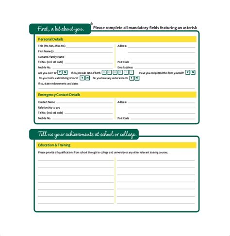 application form template 18 free word pdf documents