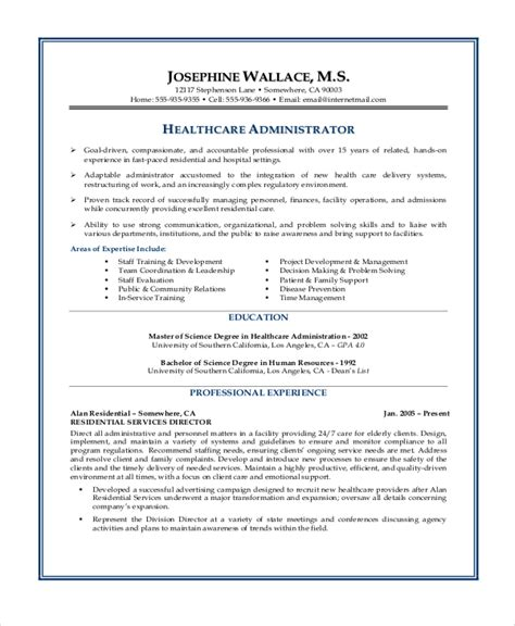Hospital Administrator Resume Objective by Healthcare Administrative Assistant Description
