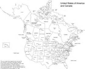 Printable Map North America and United States