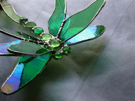dragonfly stained glass l buy a custom made double winged dragonfly stained glass