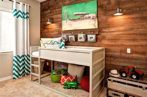 Boys Room With Ikea Kura Loft Bed Painted White. Love That