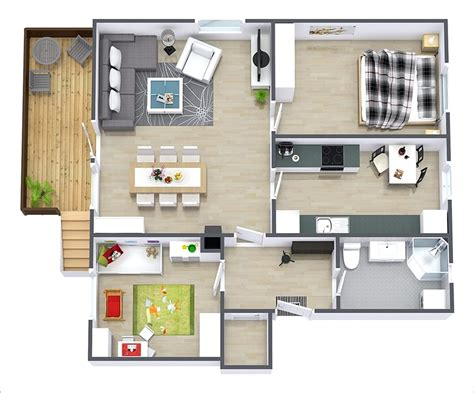 15 denah rumah minimalis 2 kamar tidur 3d 2019 terbaru