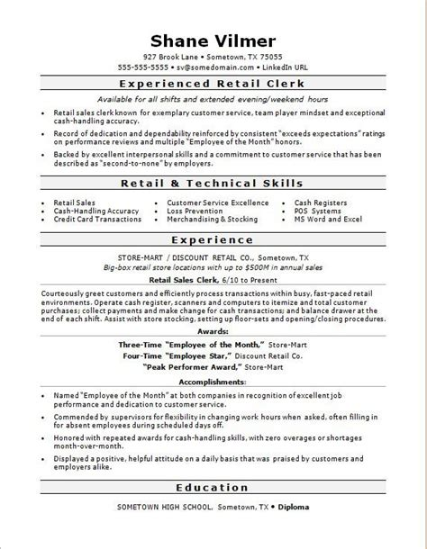 resume numerical skils retail sales clerk resume sle