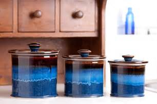 blue kitchen canister sets georgetown pottery canister set