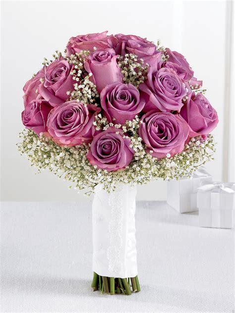 lavender rose gypsophila bridal bouquet wedding flowers