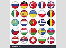European Icons Round Flags Zip Includes Stock Vector