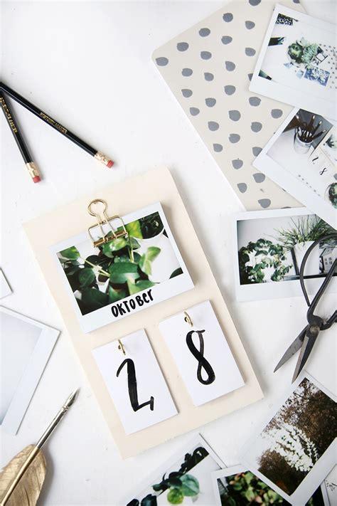 diy schreibtisch kalender mit instax fotos selbstgemacht