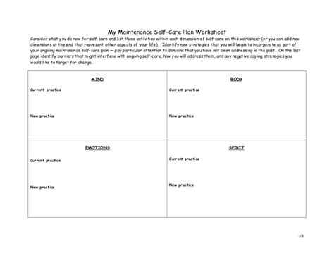 Self Care Plan Template by Self Care Plan Worksheet Free Worksheets Library
