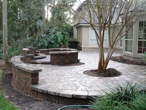 patio seating ideas brick paver patio custom firepit retaining wall french doors