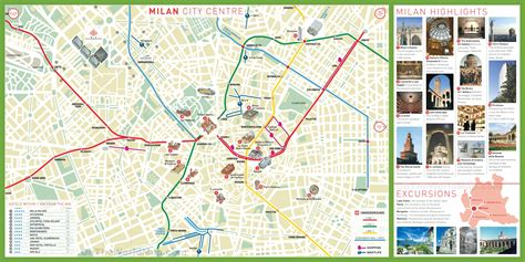 milan tourist map  travel information