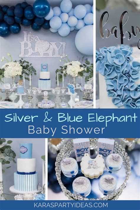 blue elephant baby shower decorations kara s ideas silver blue elephant baby shower