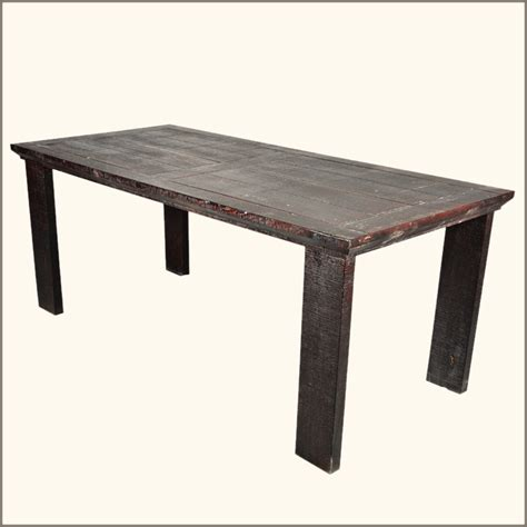 rustic solid wood distressed large dining room table